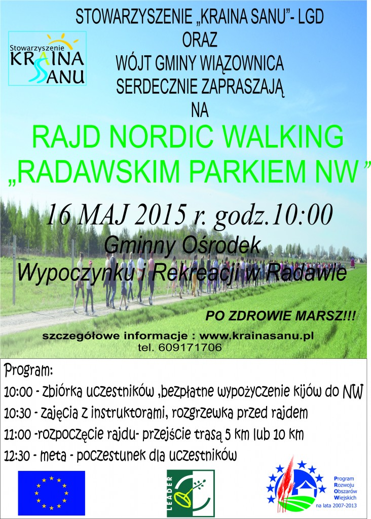 Rajd Nordic Walking w Radawie 16.05.2015 r.